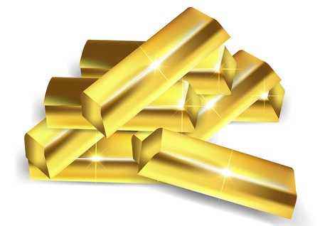 A pile of gold bars, vector art illustration wealth.