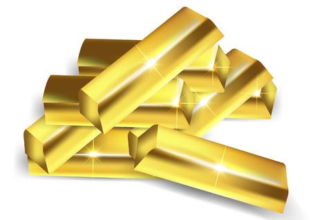 A pile of gold bars, vector art illustration wealth.