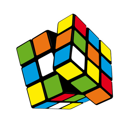 unsolved: puzzle cube isolated still life vector illustration art. Illustration