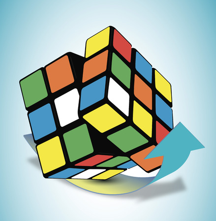 unsolved: puzzle Cube the arrow vector art illustration. Illustration
