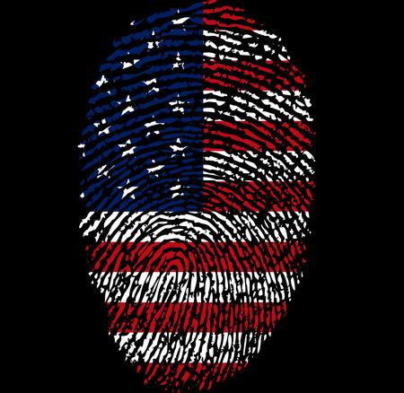 fingerprint: Fingerprint on the flag of the United States of America, vector art illustration. Illustration