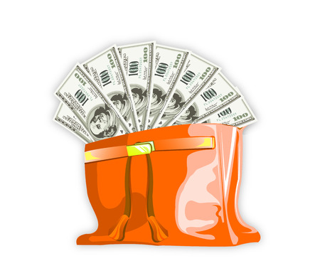 peep out: Dollars peep out of the bag, vector art illustration.