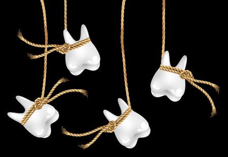 rotting: White human teeth hanging lace, vector art illustration.