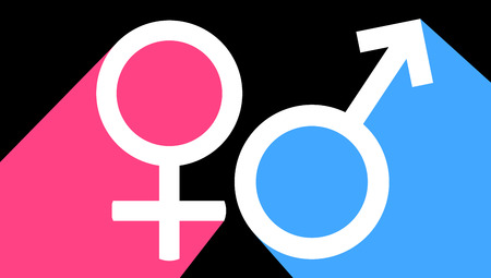 Male and female sex symbol, vector art illustration.