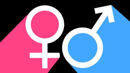 Male and female sex symbol, vector art illustration.