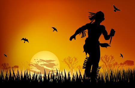 shaddow: Aborigine with a dagger runs at sunset art illustration.