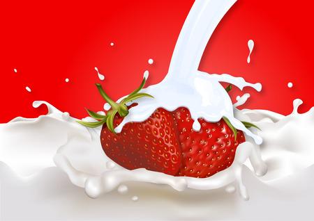 tomando refresco: La leche de fresa ba�ado ilustraci�n del arte de yogur de fresa.
