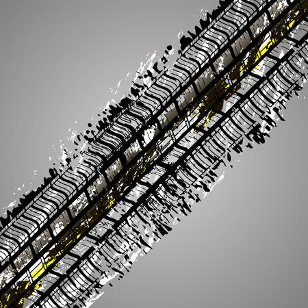 Trace of the tire tread vector art illustration. Illustration