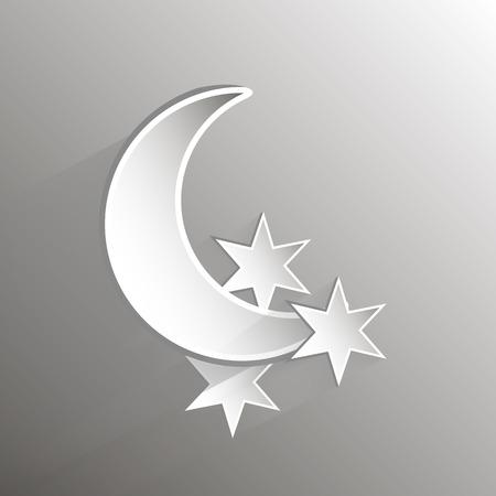 Paper crescent moon and stars vector art illustration. Vector