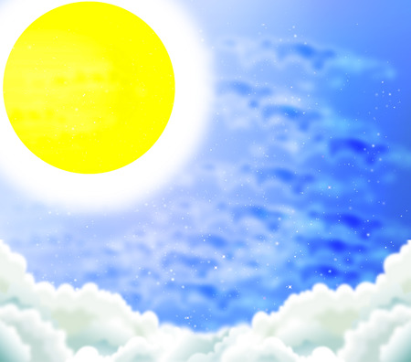 ozone layer: The bright sun in the summer sky vector art illustration. Illustration