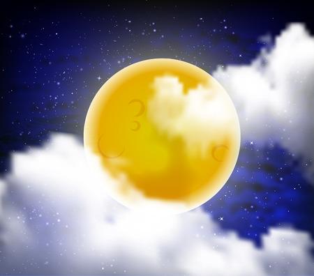 nebulous: Bright yellow full moon vector art illustration.