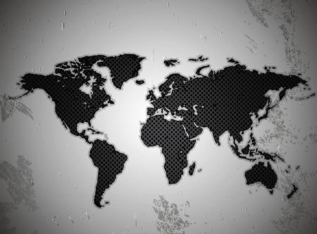 metal lattice: Map of the world in the texture of the metal lattice vector art illustration.