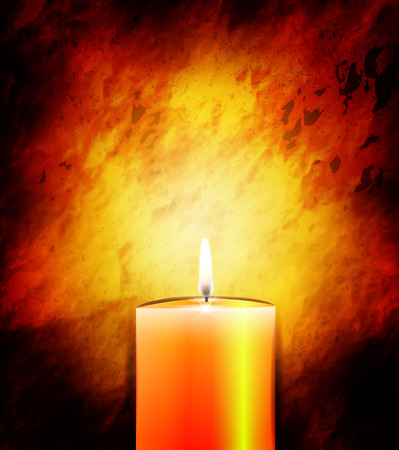 Burning candle on a background of parchment vector art illustration. Vector
