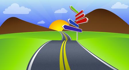long road: Long Road vector art illustration highway travel.