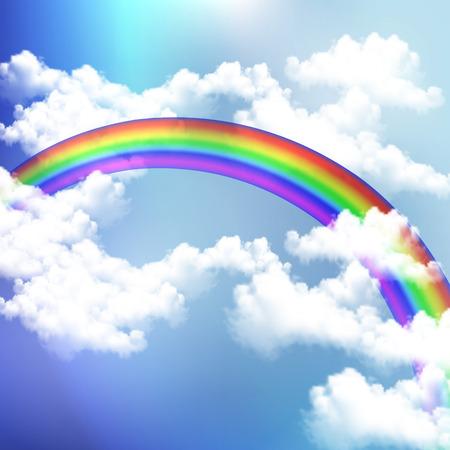 summer sky: Rainbow in the summer sky vector art illustration. Illustration