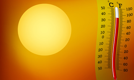 overheated: The thermometer on the background of the bright sun vector art illustration hot season.
