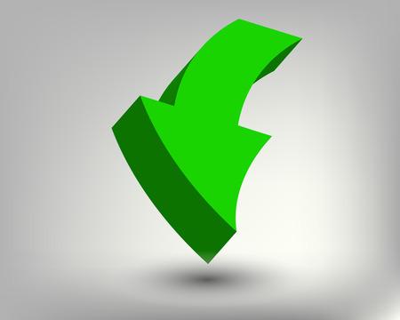 turning point: 3D bright green arrow, vector art illustration.