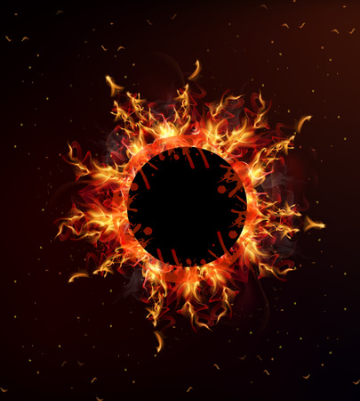 vehement: Background with fire inside the circle, vector art illustration.