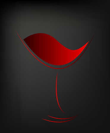 Abstract icon of red wine, vector art illustration.