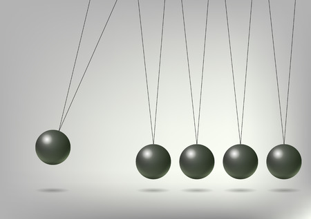 gravitational field: Newtons Cradle, vector art illustration of the concept of physics.