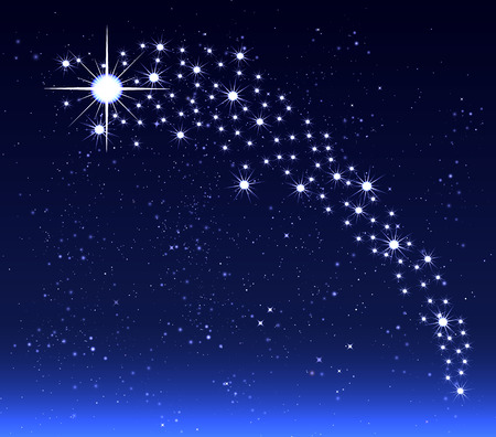 star sky: Christmas star in the night sky, vector art illustration. Illustration