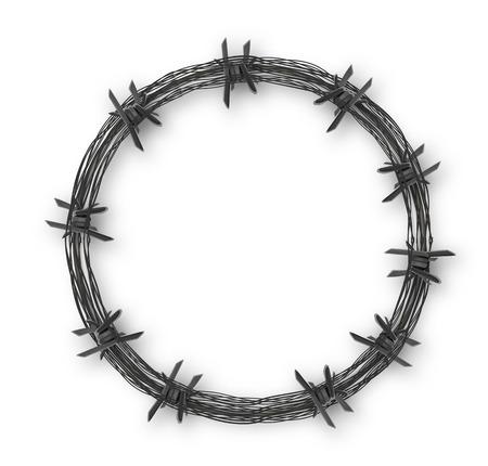 有刺鉄線、ベクトル アートの図が付いている王冠。  イラスト・ベクター素材