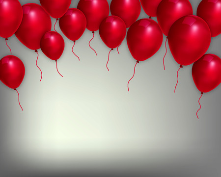 award lit: Festive background with red balloons, vector art illustration.