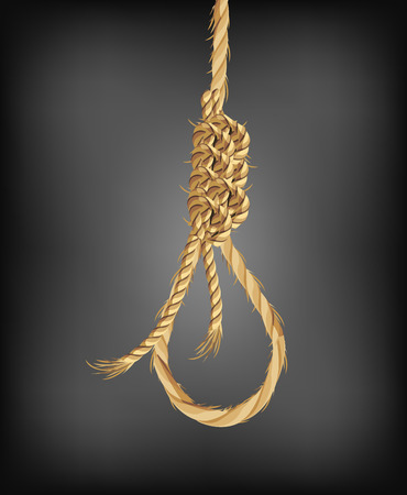 torture: The old hangman noose rope, vector art illustration.