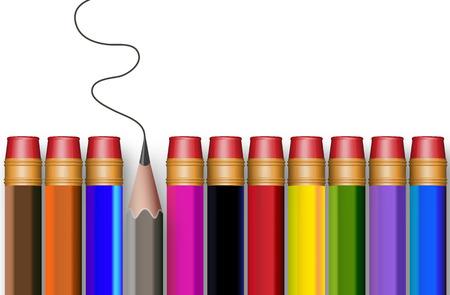 school life: El concepto de lápices multicolores, ilustración de arte vectorial.
