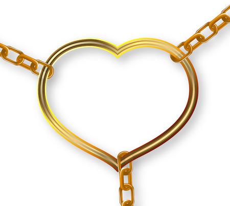 broken unity: Heart torn trim chains, vector art illustration. Illustration