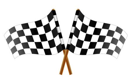 bandera carreras: Dos banderas a cuadros cruzadas, ilustración de arte abstracto banderas de carreras de coches.