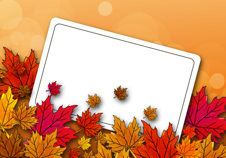 autumn colors: Autumn maple leaves on the card, vector art illustration.