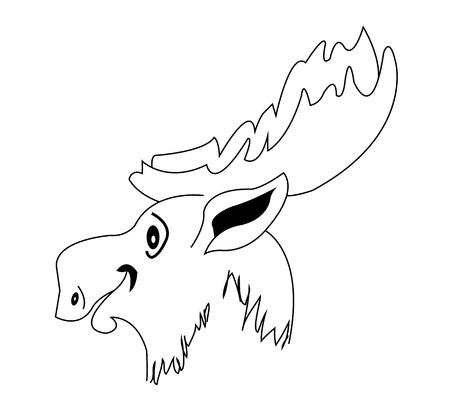 muzzle: Silhouette moose muzzle, vector art illustration of a deer.