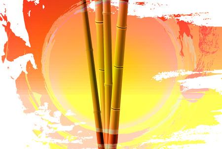 zenlike: Bamboo on the sunset background, vector art illustration. Illustration