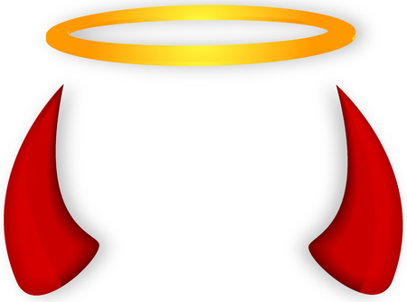 Angels halo and devil horns, vector art illustration.