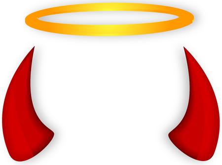 Angel's halo and devil horns, vector art illustration.