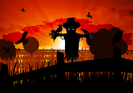 guarding: Autumn scarecrow guarding the field with crows, vector art illustration of Halloween. Illustration