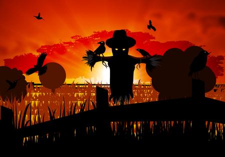 autumn scarecrow: Autumn scarecrow guarding the field with crows, vector art illustration of Halloween. Illustration