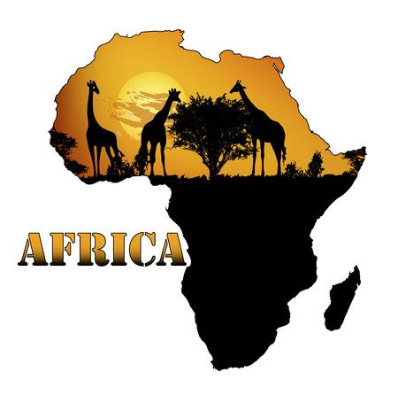 Fauna de África en la ilustración del arte del mapa, del vector.
