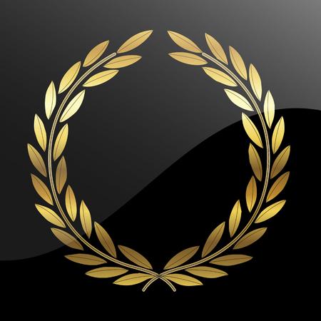 Gold laurel wreath, vector art illustration character.