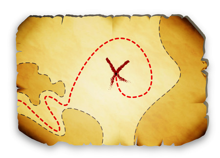 treasure island: Pirate map with marked locations of the treasure, vector art illustration. Illustration
