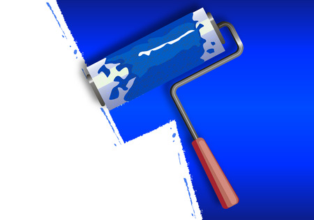 blue paintroller: Paint the walls blue with a roller, vector art illustration.