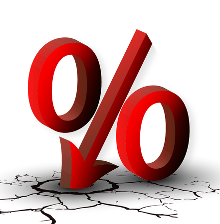 collapsing: The percentage discounts or low, vector art illustration.