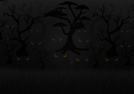 judgement day: Scary eyes in a dark forest, vector art illustration of Halloween.