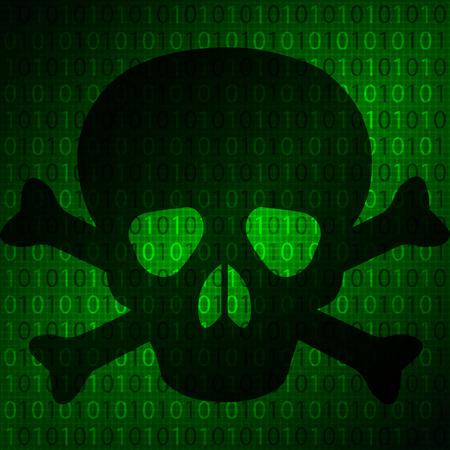 The skull on the background matrix, vector art illustration of a computer virus. Illustration