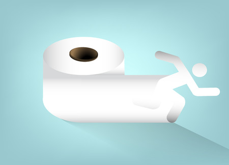 necessity: A roll of toilet paper, vector art illustration hygiene.
