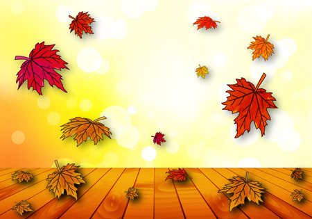 autumn leaves falling: Autumn leaves falling on a wooden table, vector art illustration.