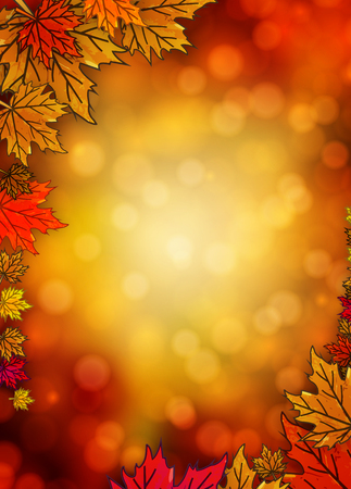 The border with autumn leaves in the autumn background, vector art illustration. Imagens - 46168651