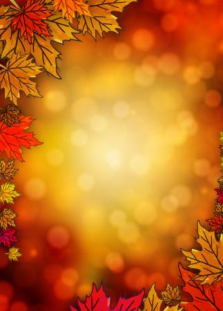 The border with autumn leaves in the autumn background, vector art illustration. Ilustração