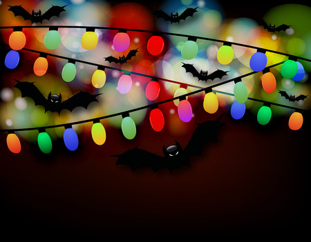 indulgence: Bat garland, vector art illustration of Halloween.